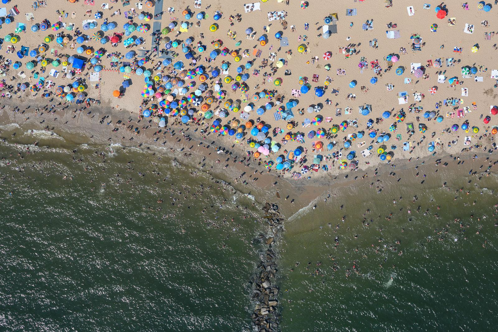 Coney Island's packed beach on Labor Day in 2018