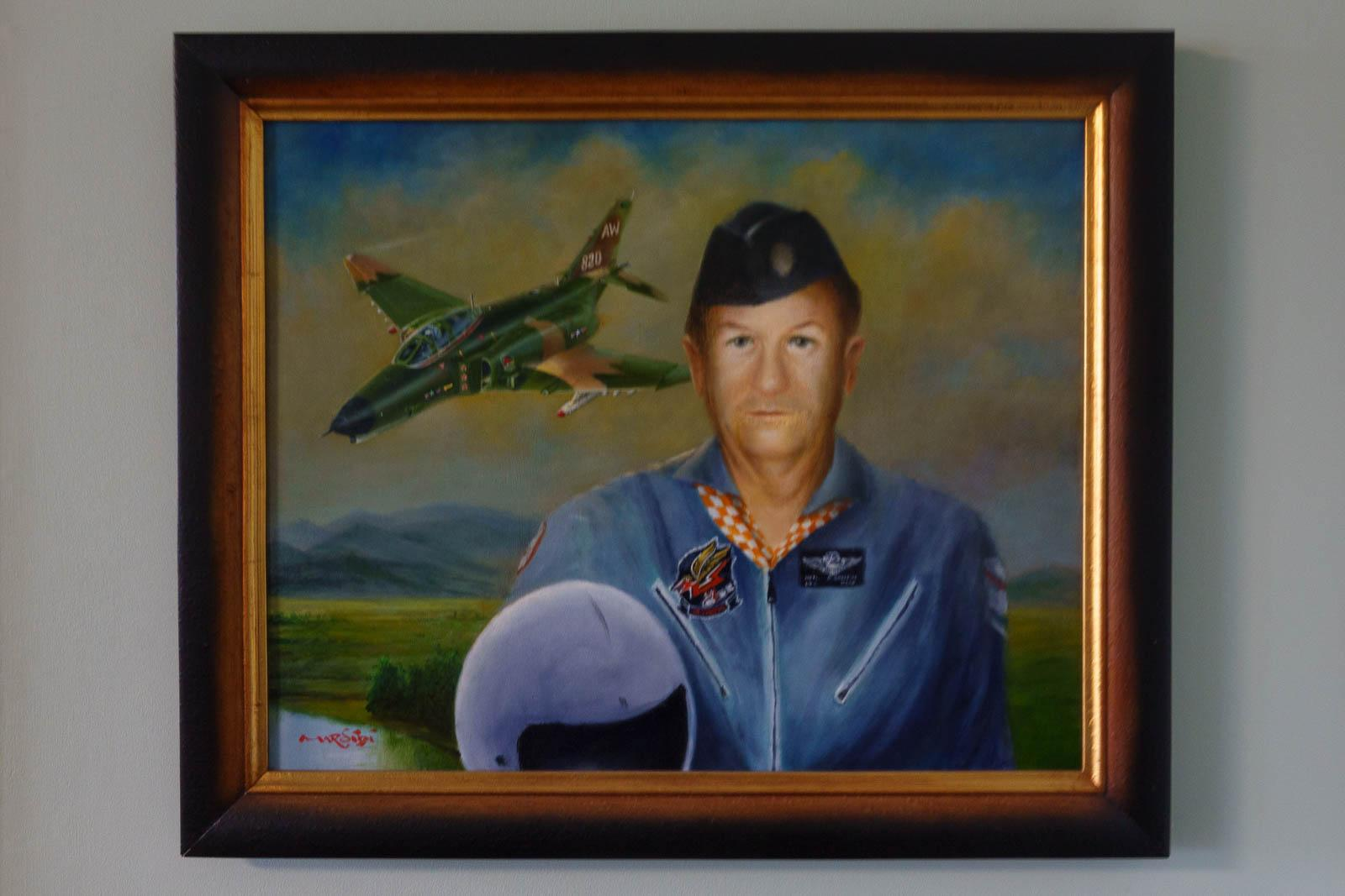 Painting by Mike Rinker honoring the local hero, Neil Griffin, Lt. Col. USAF