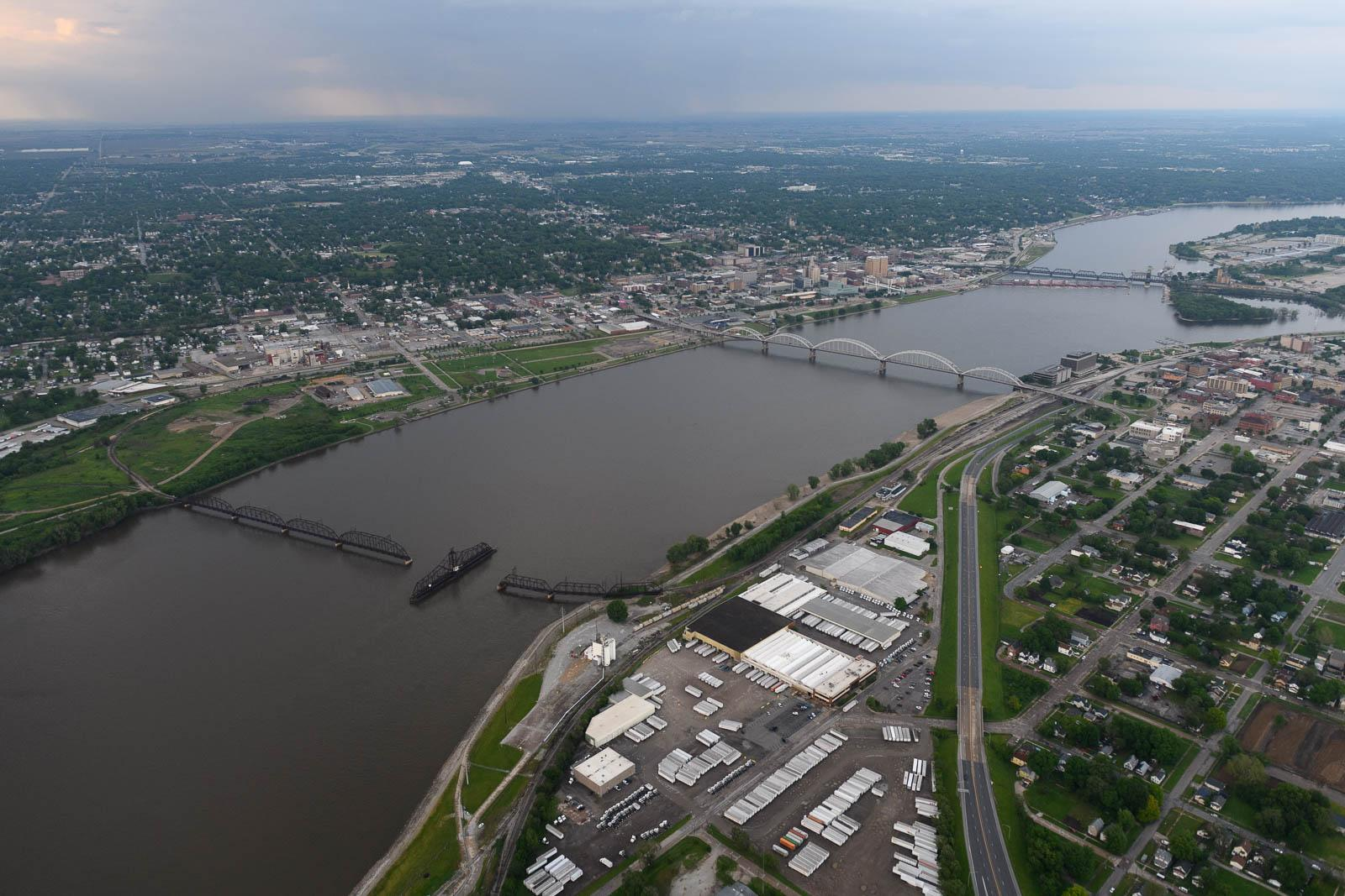 Crossing the Mississippi near Quad Cities