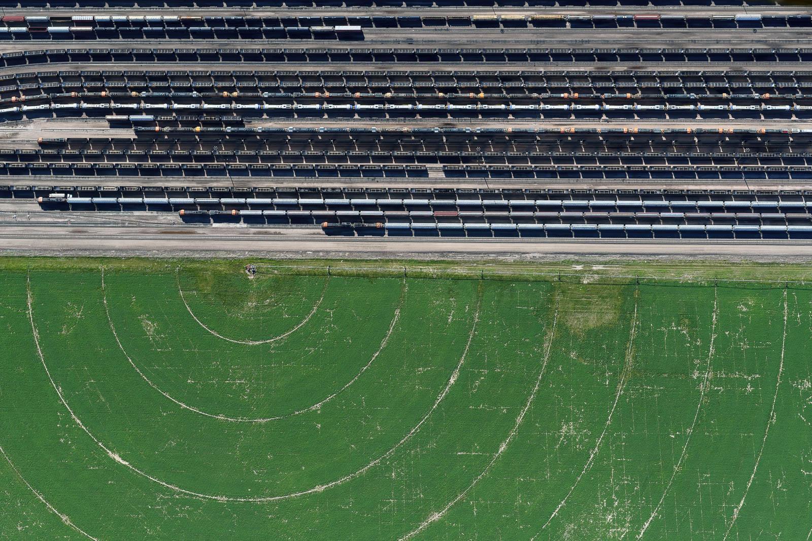 Trains and Fields in Alliance, Nebraska