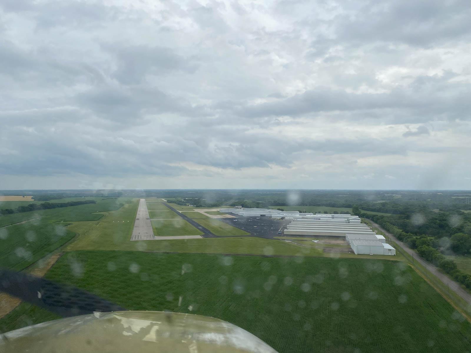 Landing near Dallas as the rain starts