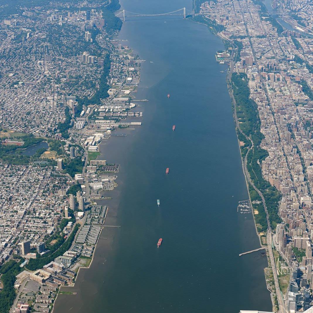 Tankers make their way up the Hudson River